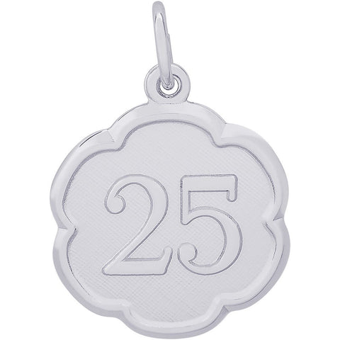 Sterling Silver Number Twenty Five Scalloped Disc Charm - from Holsten Jewelers