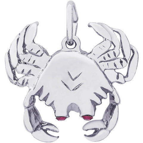 Sterling Silver Crab With Stones Charm - from Holsten Jewelers