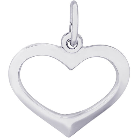 Sterling Silver Open Heart Charm - from Holsten Jewelers