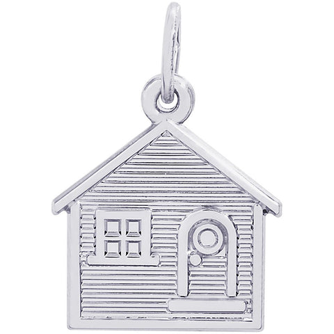 Sterling Silver Flat House Charm - from Holsten Jewelers