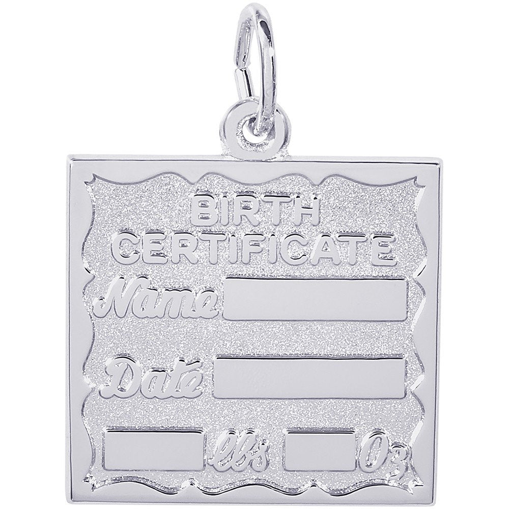 Birth Certificate Charm - from Holsten Jewelers