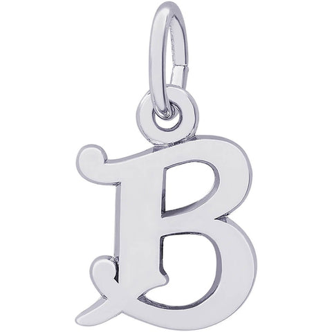 Sterling Silver Curly Initial B Accent Charm - from Holsten Jewelers