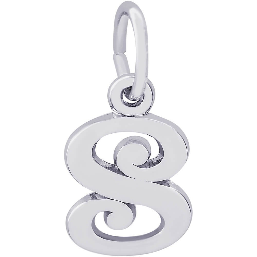 Sterling Silver Curly Initial S Accent Charm - from Holsten Jewelers