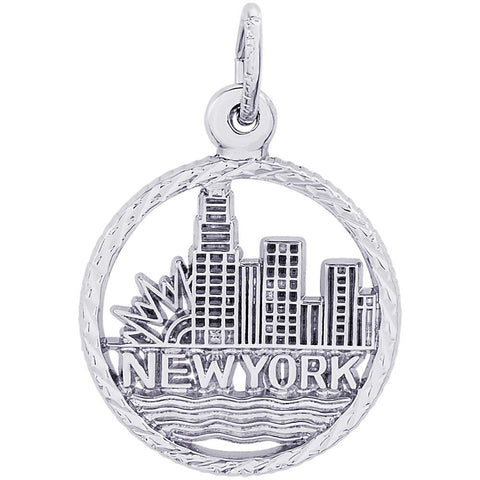 Sterling Silver New York City Skyline Charm - from Holsten Jewelers