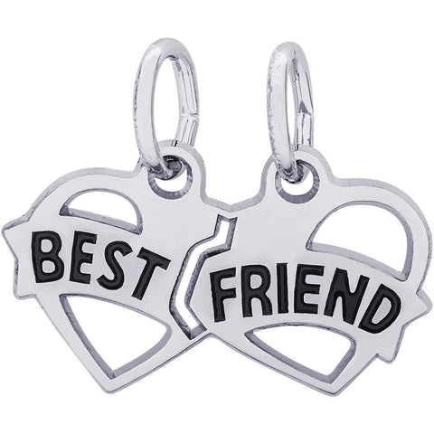 Sterling Silver Best Friends Hearts Charm - from Holsten Jewelers