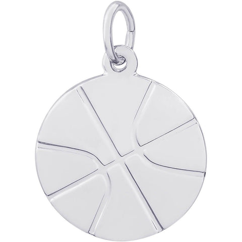 Sterling Silver Flat Basketball Charm - from Holsten Jewelers