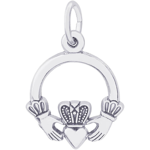 Sterling Silver Small Claddagh Charm - from Holsten Jewelers