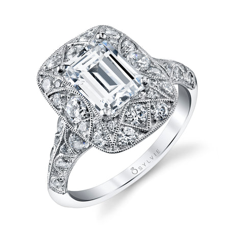 14k White Gold Vintage Inspired  Diamond Engagement Ring(center stone not included)