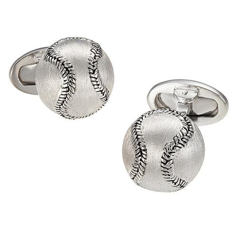 Sterling Silver Brushed Baseball Cufflinks