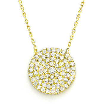 Yellow Sterling Silver Large Round Cz Disc Chain