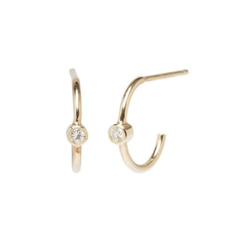 14K BEZEL SET DIAMOND THIN HUGGIE HOOPS - from Holsten Jewelers