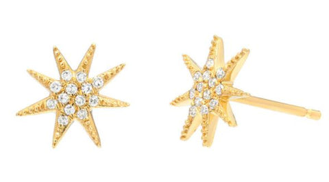 14k Yellow Gold Diamond Sunburst Earrings