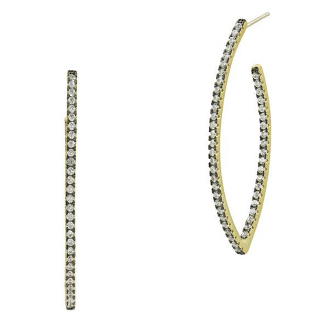 Freida Rothman Gold/Black Sterling Silver Signature Allover Pave Pointed Hoop Earrings