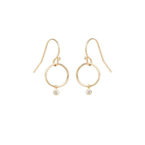 14k Yellow Gold Circle on Wire with Dangle Diamond - from Holsten Jewelers