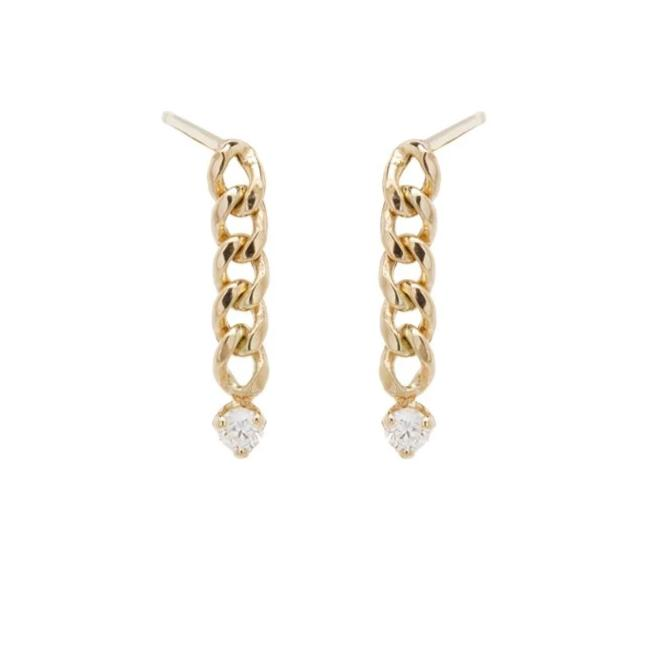 14K SMALL CURB CHAIN DROP EARRINGS WITH PRONG DIAMONDS