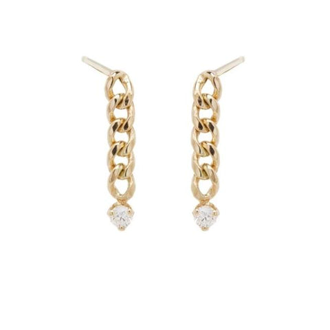 14K SMALL CURB CHAIN DROP EARRINGS WITH PRONG DIAMONDS - from Holsten Jewelers