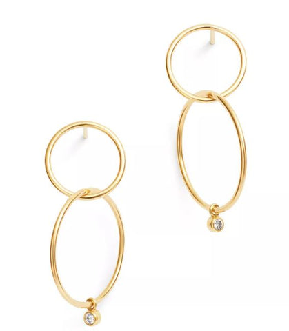 14K Bezel Diamond Double Circle Hoop Earrings