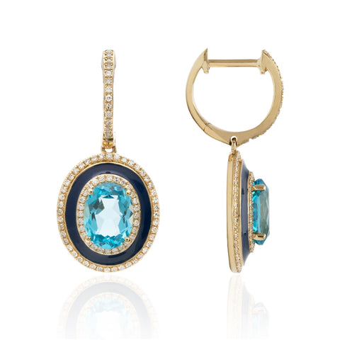 14k Yellow Gold Blue Topaz & Enamel Diamond Pave Drop Earrings