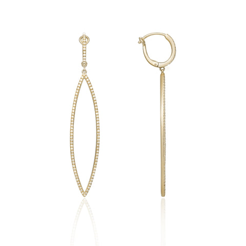 14K Yellow Gold Open Marquise Shape Dangle Earrings