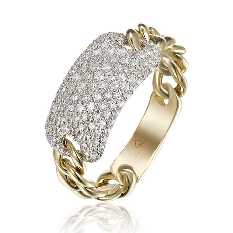 14k Yellow and White Gold  Pave Diamond Link Ring