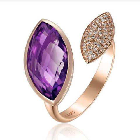 14k Rose Gold Marquise Amethyst And Diamond Pave Ring