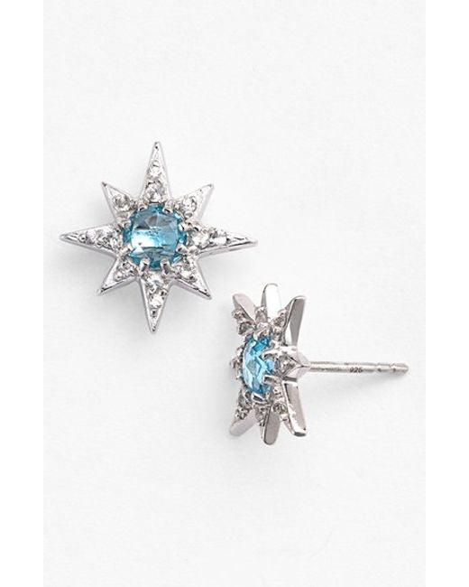 Silver Mini Aztec Starburst With 5Mm Blue Topaz Earrings