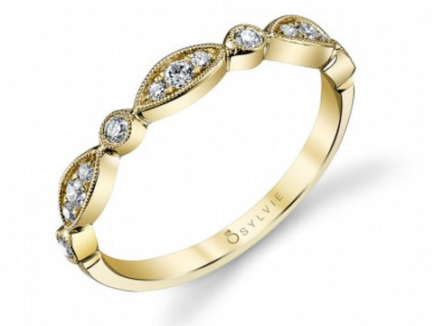 Yellow Gold Vintage Shaped Milgrain Detail Diamond Band