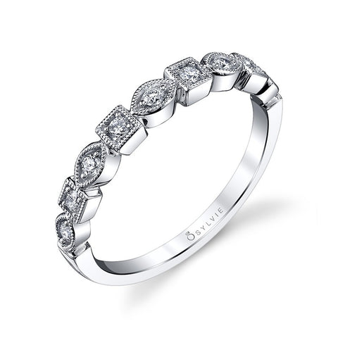 14k White Gold  Stackable Diamond Wedding Band - from Holsten Jewelers