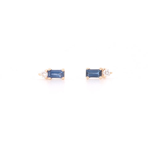 14k Yellow Gold Blue Sapphire And Diamond Baguette Stud Earrings