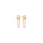 14K Yellow Gold Bezel Chain Earrings
