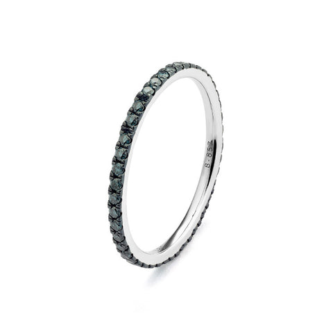 14k White Gold Treated Round Blue Diamond Stack Ring