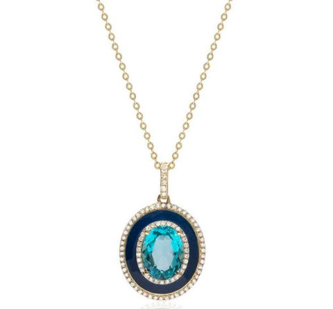14K Yellow Gold Oval Blue Topaz & Enamel Pendant