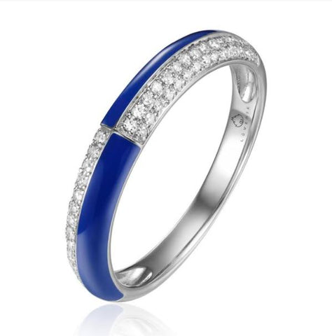 14K White Gold  Blue Enamel And Diamond Ring