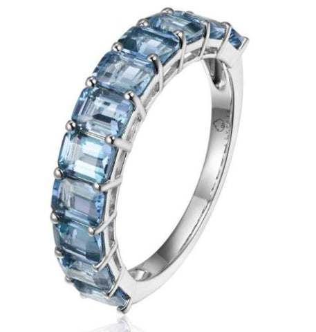14k White Gold Emerald Cut Blue Topaz Ring