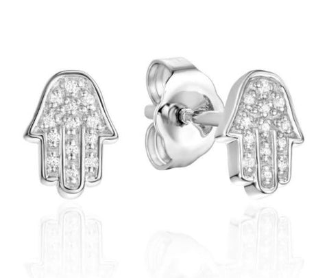 14K White Gold Diamond Chamsa Earrings