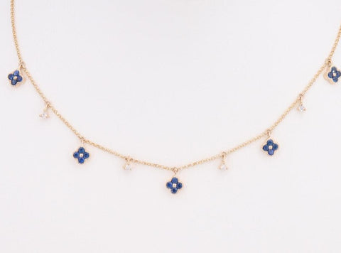 14k Yellow Gold Blue Saphire And Diamond Flower Necklace