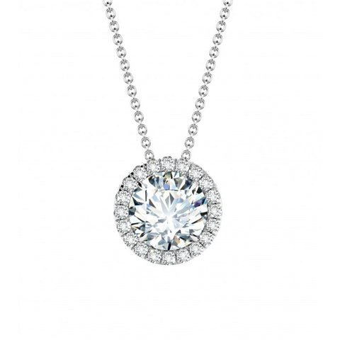 White Gold Diamond Halo Pendant - from Holsten Jewelers