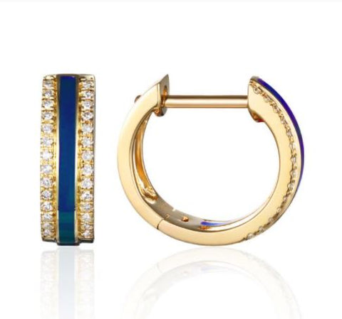 14K Yellow Gold Blue Enamel Diamond Huggies