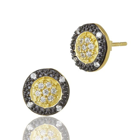 Frieda Rothman Two-Tone Pavé Round Stud - from Holsten Jewelers