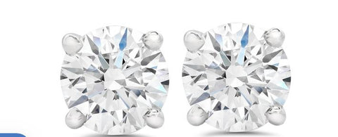 14k White Gold Diamond Stud Earrings 1.44ct Total GIA Cerified F I1 and G I1 - from Holsten Jewelers