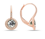 14k Rose Gold Green Amethyst In Diamond Halo On Diamond Lever Backs - from Holsten Jewelers