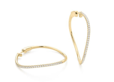 14k Yellow Gold Diamond Swirl Hoops