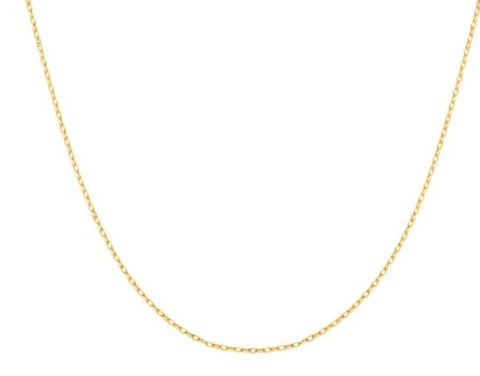 14K Yellow Gold Flat Cable Chain at Length 18