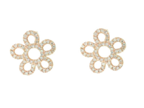 18 Karat Diamond Flower Stud Earrings