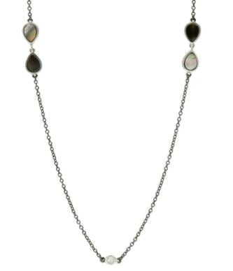 Freida Rothman Sterling Silver Grey Mother Of Pearl Long Station Necklace Length 36