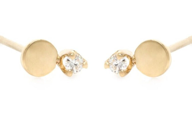 14K PRONG DIAMOND AND ROUND DISC STUDS - from Holsten Jewelers