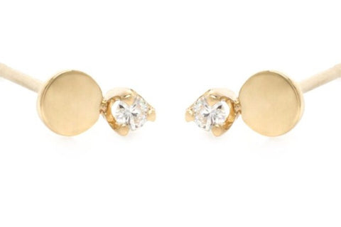 14k Yellow Gold Round Disc with Diamond Stud Earrings - from Holsten Jewelers
