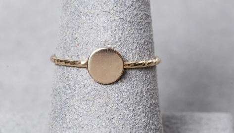 14K Yellow Gold Disc Ring Fashion Ring