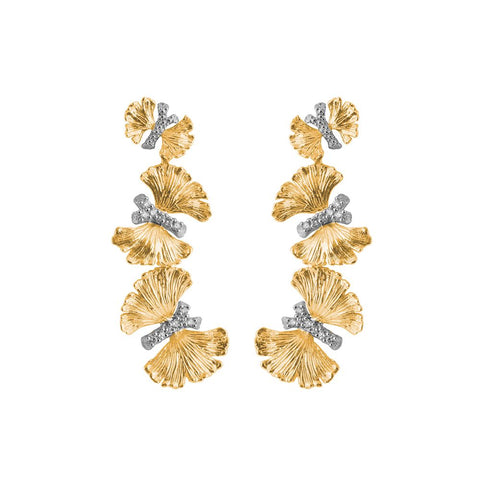 Michael Aram Sterling Silver and 18k Yellow Gold Butterfly Gingko Triple Drop Earrings - from Holsten Jewelers