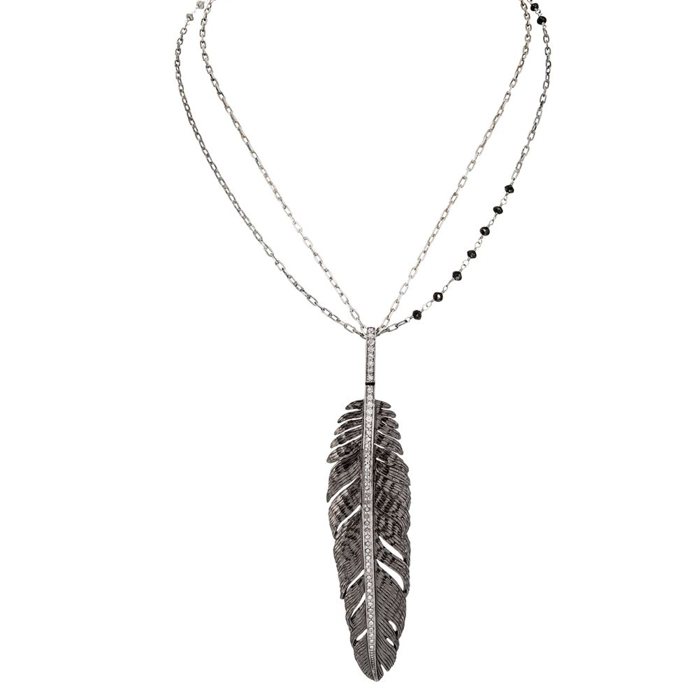 Feather Pendant Necklace 68mm - from Holsten Jewelers